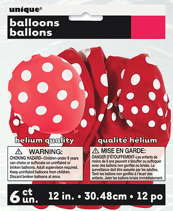 "Red Dotty 11"" Latex Balloons"