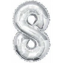 Silver Giant Number 8 Foil Balloon