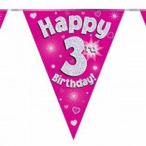 Pink Age 3 Bunting