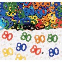 Multi-Colour Age 80 Confetti