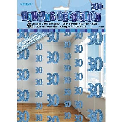 Blue Glitz Age 30 String Decoration