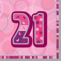 Pink Glitz Age 21 Napkin