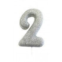 Silver Glitter Number 2 Candle