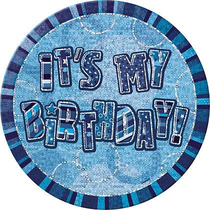 "Blue Glitz 6"" Birthday Badges"