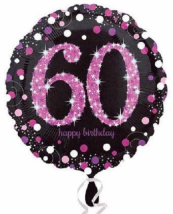 Pink Sparkle Age 60 Foil Balloon