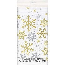 Holiday Snowflakes Plastic Table Cover
