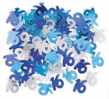 Blue Glitz Age 16 Confetti