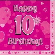Pink Age 10 Napkin