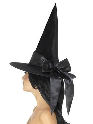 Black Witch Hat with Black Bow