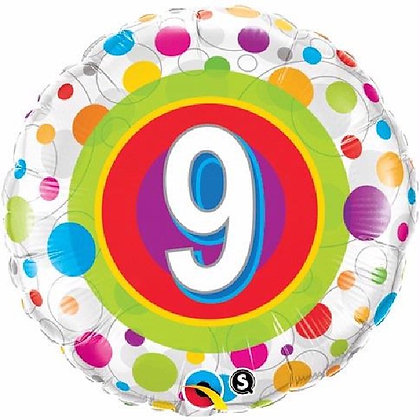Colourful Dots Age 9 Foil Balloon