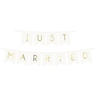 White and Gold Just Married Bunting