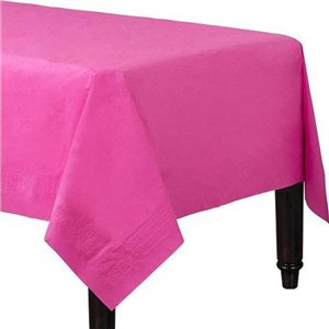 Magenta Plastic-Lined Paper Tablecover
