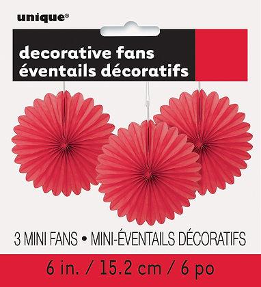 "Red 6"" Mini Paper Fans"
