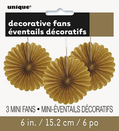 """Gold 6"""" Mini Paper Fans"""