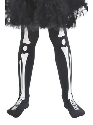 Children's Black Skeleton Print Tights