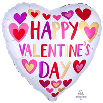 Hand Drawn Heart Valentines Day Foil Balloon