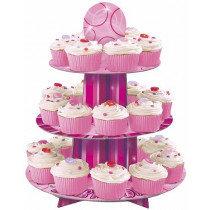 Magenta Glitz Cardboard Cupcake Stand