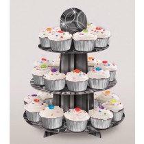 Black Glitz Cardboard Cupcake Stand