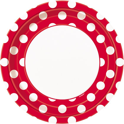 "Red Dotty 9"" Paper Plates"