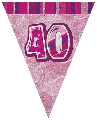 Pink Glitz Age 40 Bunting