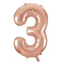 Rose Gold Giant Number 3 Foil Balloon