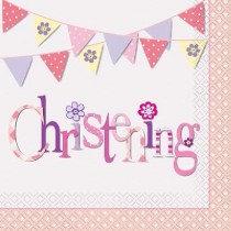 Pink Bunting Christening Paper Napkins