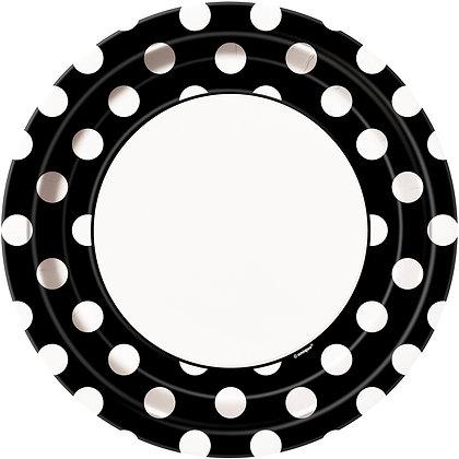 "Black Dotty 9"" Paper Plates"