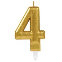 Gold Number 4 Candle