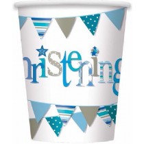 Blue Bunting Christening Paper cups