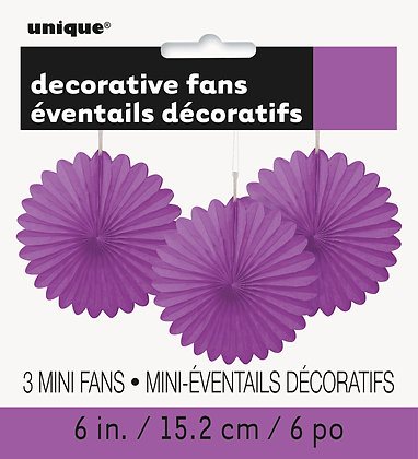 "Purple 6"" Mini Paper Fans"