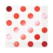 White and Metallic Red Dot Napkins