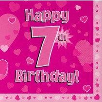 Pink Age 7 Napkin