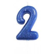 Blue Glitter Number 2 Candle
