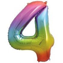 Rainbow Stripe Number 4 Foil Balloon