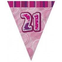 Pink Glitz Age 21 Bunting