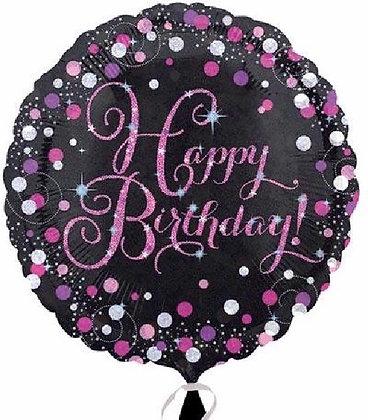 Pink Sparkle Happy Birthday  Foil Balloon