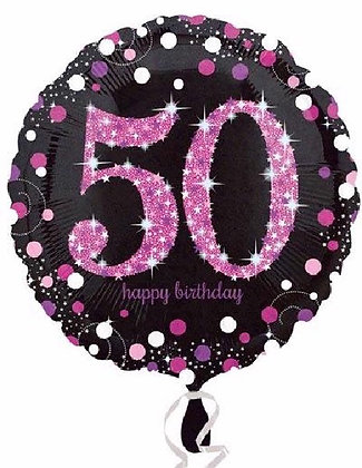Pink Sparkle Age 50 Foil Balloon