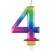 Metallic Rainbow Number 4 Candle