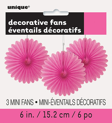 "Magenta 6"" Mini Paper Fans"