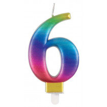 Metallic Rainbow Number 6 Candle