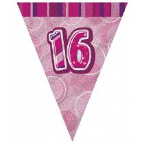 Pink Glitz Age 16 Bunting