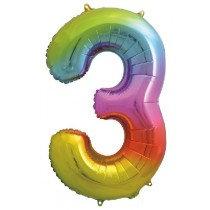 Rainbow Stripe Number 3 Foil Balloon
