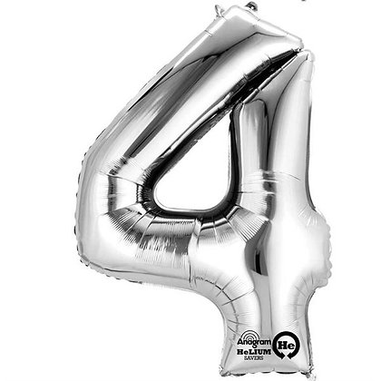 Silver Giant Number 4 Foil Balloon
