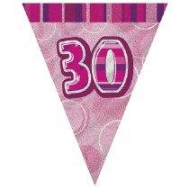 Pink Glitz Age 30 Bunting