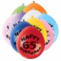 Air Fill Age 65 Latex Balloons