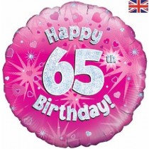 Pink Age 65 Foil Balloon
