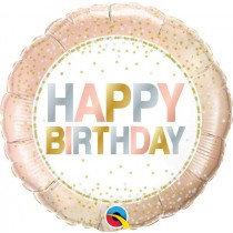 Metallic Dots Happy Birthday Std Foil Balloon