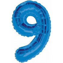 Blue Giant Number 9 Foil Balloon