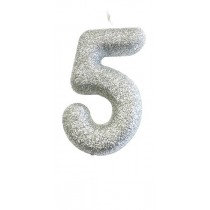 Silver Glitter Number 5 Candle