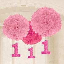 Pink 1st Birthday Pom Poms